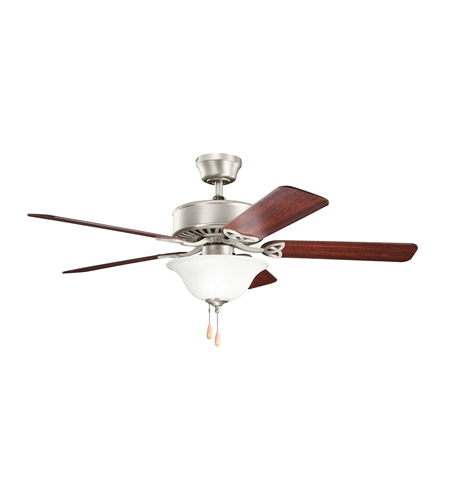 Kichler 330103NI Renew Select Es 50 inch Brushed Nickel with Cherry MS-5291 Blades Fan in Satin Etched Glass photo