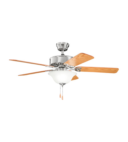 Kichler 330110BSS Renew Select 50 inch Brushed Stainless Steel with Dark Oak MS-99613 Blades Fan in Satin Etched Glass, Medium Oak/Dark Oak photo