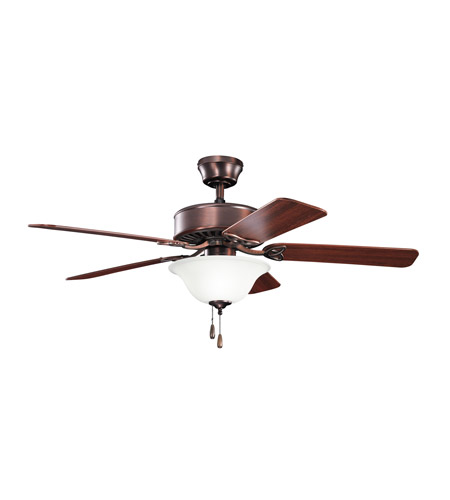 Kichler 330110OBB Renew Select 50 inch Oil Brushed Bronze with Walnut MS-97503 Blades Fan in Satin Etched Glass, Walnut / Cherry photo