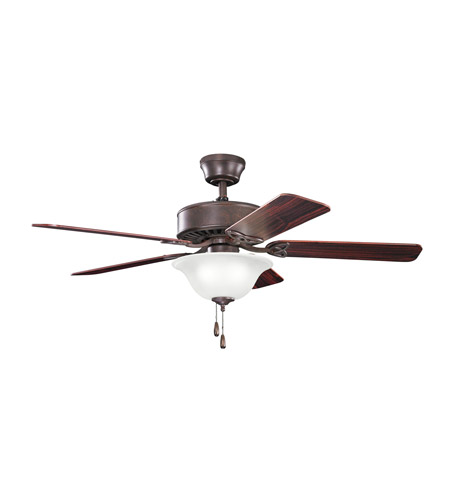 Kichler 330110TZ Renew Select 50 inch Tannery Bronze with Teak MS-98556 Blades Fan in Umber Etched Glass, Teak / Cherry photo