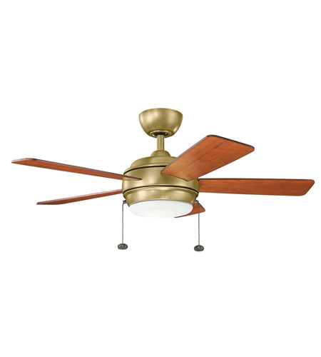 Kichler 330171NBR Starkk 42 inch Natural Brass with MEDIUM CHERRY/DARK CHERRY Blades Ceiling Fan photo