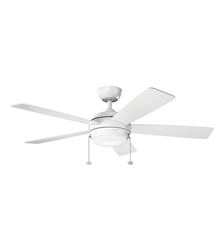 Kichler 330174MWH Starkk 52 inch Matte White with MATTE WHITE/MATTE WHITE Blades Ceiling Fan photo