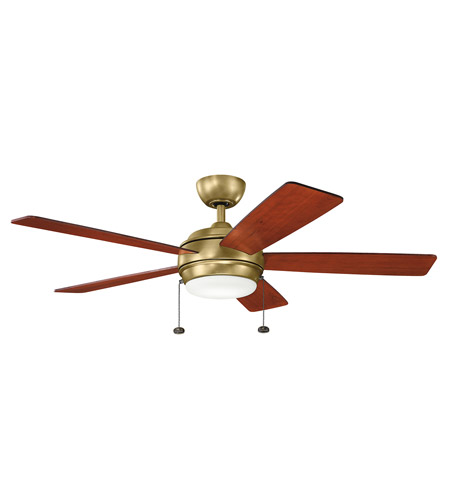 Kichler 330174NBR Starkk 52 inch Natural Brass with DARK CHERRY/MEDIUM CHERRY Blades Ceiling Fan photo