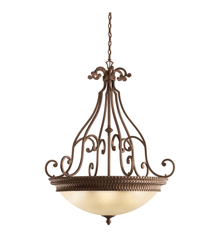 Kichler Lighting Larissa 6 Light Inverted Pendant in Tannery Bronze w/ Gold Accent 3314TZG