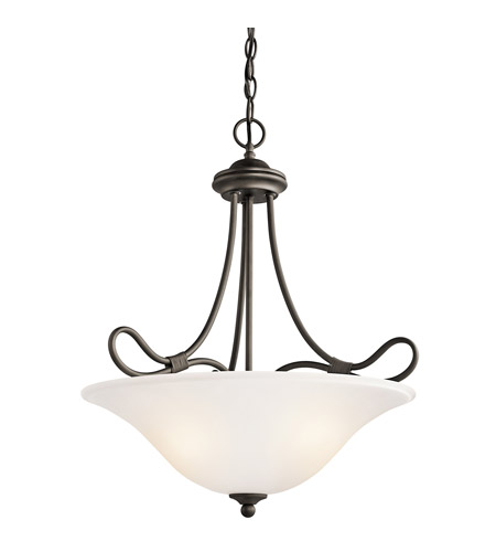 Kichler 3356OZ Stafford 3 Light 19 inch Olde Bronze Inverted Pendant Ceiling Light photo