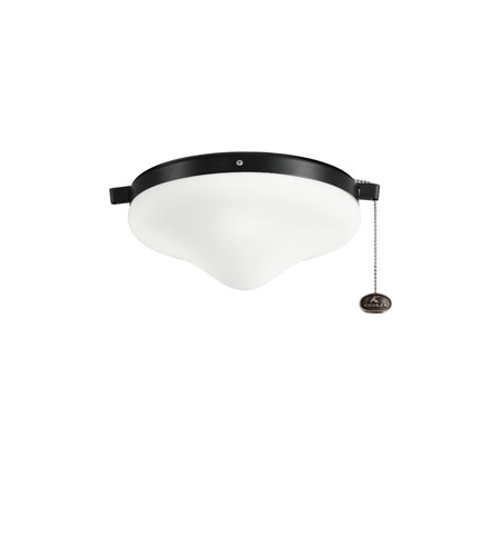 Kichler Lighting Outdoor Wet Fixture 2 Light Fan Light Kit in Satin Black 338050SBK