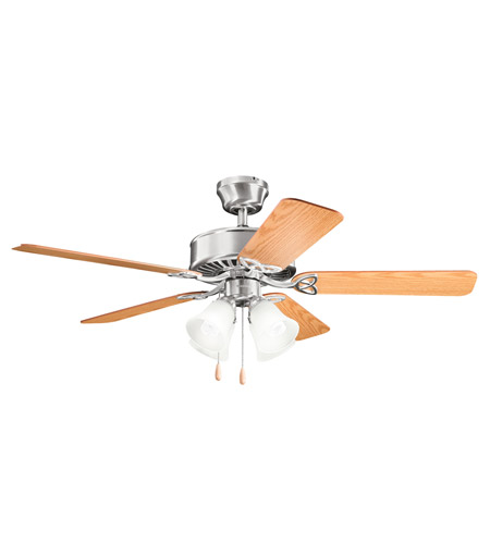Kichler 339240BSS Renew Premier 50 inch Brushed Stainless Steel with Medium Oak MS-93070 Blades Fan in Satin Etched Glass photo
