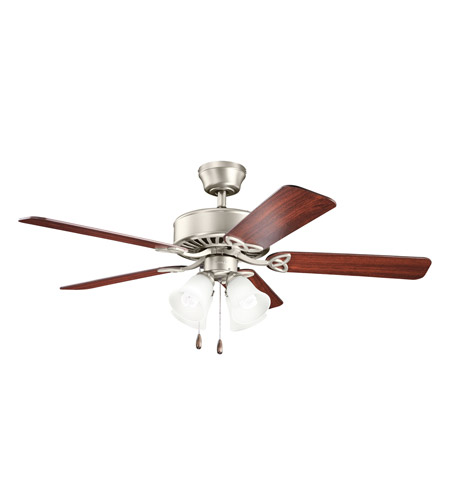 Kichler 339240NI Renew Premier 50 inch Brushed Nickel with Cherry MS-5291 Blades Fan in Satin Etched Glass photo