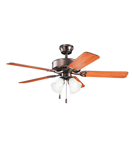 Kichler 339240OBB Renew Premier 50 inch Oil Brushed Bronze with Walnut MS-97503 Blades Fan in Satin Etched Glass photo