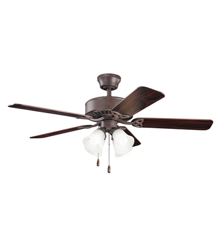 Kichler 339240TZ Renew Premier 50 inch Tannery Bronze with Teak MS-98556 Blades Fan in Satin Etched Glass photo