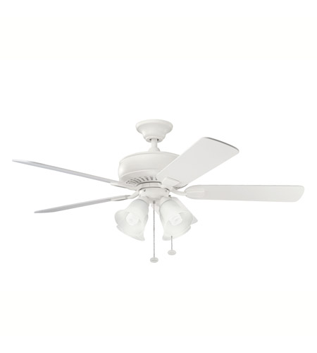 Kichler Lighting Saxon Premier 4 Light Fan in Satin Natural White 339401SNW