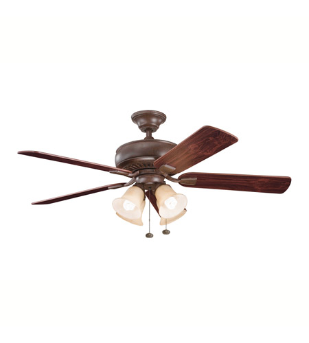 Kichler Lighting Saxon Premier 4 Light Fan in Tannery Bronze 339401TZ photo