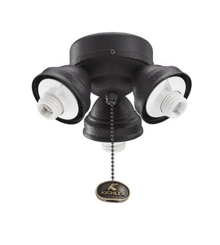 Kichler Lighting 3 Light Turtle Fitter Fan Fitter in Distressed Black 350010DBK photo