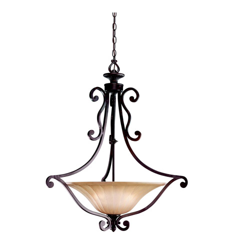 Kichler Lighting Cottage Grove 3 Light Inverted Pendant in Carre Bronze 3558CZ photo