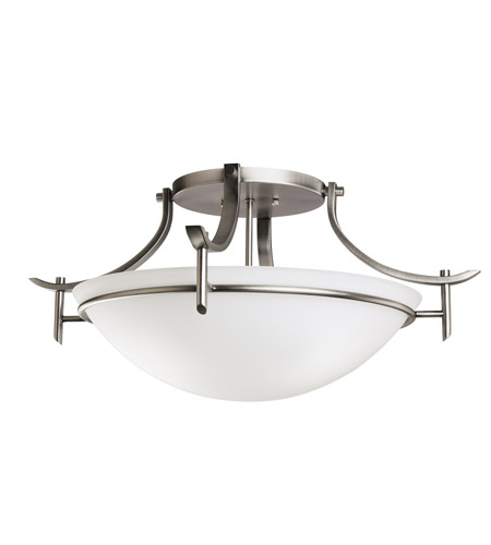 Kichler 3606AP Olympia 3 Light 24 inch Antique Pewter Semi-Flush Ceiling Light in Satin Etched Glass photo