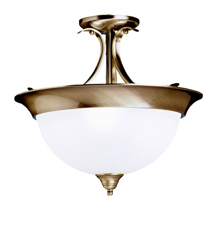 Kichler Lighting Dover 3 Light Semi-Flush in Antique Brass 3623AB