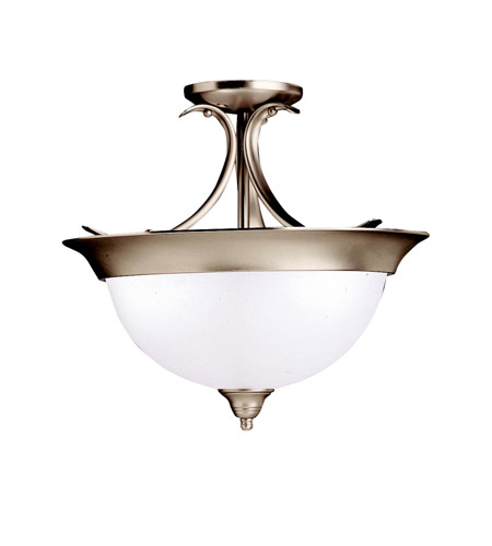 Kichler 3623NI Dover 3 Light 15 inch Brushed Nickel Semi-Flush Ceiling Light in Satin Etched Glass, Standard photo