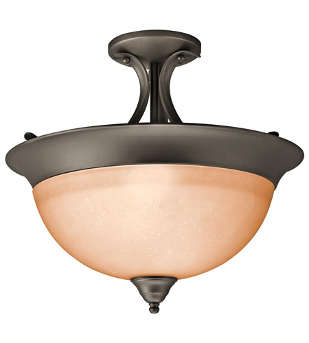 Kichler 3623OZ Signature 3 Light 15 inch Olde Bronze Semi-Flush Ceiling Light in Satin Etched Glass photo