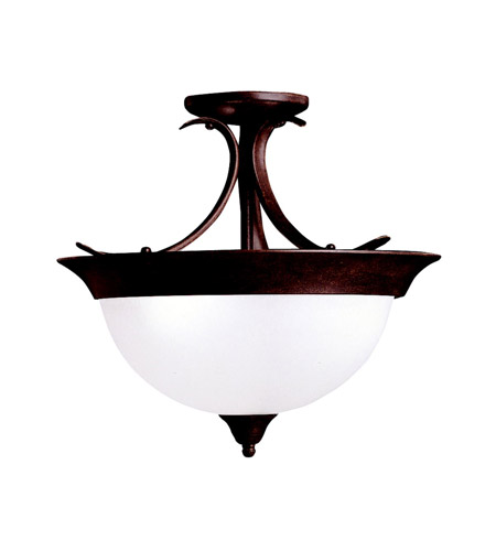 Kichler 3623TZ Dover 3 Light 15 inch Tannery Bronze Semi-Flush Ceiling Light in Satin Etched Glass, Standard photo