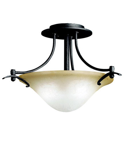 Kichler Lighting Pomeroy 2 Light Semi-Flush in Distressed Black 3644DBK
