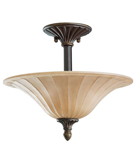 Kichler Lighting Cottage Grove 3 Light Semi-Flush in Carre Bronze 3658CZ