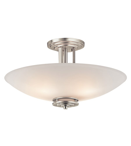 Kichler 3677NI Hendrik 4 Light 24 inch Brushed Nickel Semi Flush Light Ceiling Light in Etched White photo