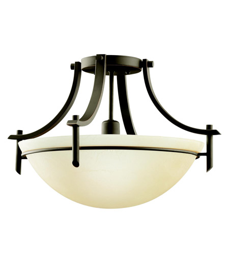 Kichler 3678OZ Olympia 1 Light 18 inch Olde Bronze Semi-Flush Ceiling Light in Sunset Marble Glass, Standard photo