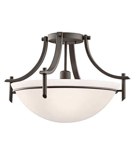 Kichler 3678OZW Olympia 1 Light 18 inch Olde Bronze Semi-Flush Mount Ceiling Light in Satin Etched Glass, Standard photo
