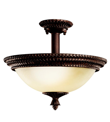 Kichler Lighting Larissa 2 Light Semi-Flush in Tannery Bronze w/ Gold Accent 3713TZG