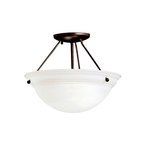 Kichler 3718TZ Cove Molding Top Glass 2 Light 13 inch Tannery Bronze Semi-Flush Ceiling Light in Satin Etched Glass photo