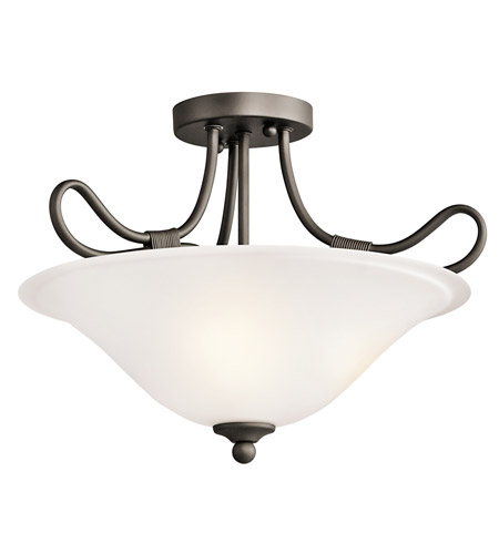 Kichler 3757OZ Stafford 2 Light 16 inch Olde Bronze Semi-Flush Ceiling Light photo