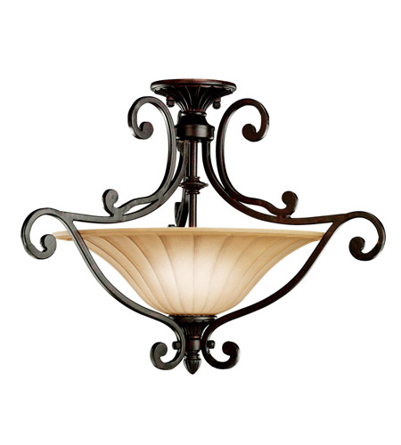 Kichler Lighting Cottage Grove 2 Light Semi-Flush in Carre Bronze 3758CZ photo