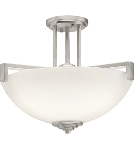 Kichler 3797NI Eileen 3 Light 17 inch Brushed Nickel Semi-Flush Ceiling Light in Standard, Satin Etched Cased Opal photo