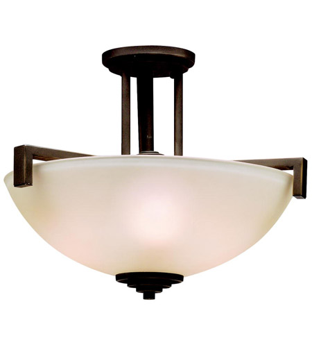 Kichler 3797OZ Eileen 3 Light 17 inch Olde Bronze Semi-Flush Ceiling Light in Umber Etched Glass, Standard photo