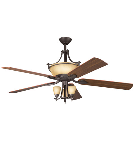Kichler 380001OZ Olympia 3 Light Olde Bronze Fan Light Kit in Sunset Marble Glass photo