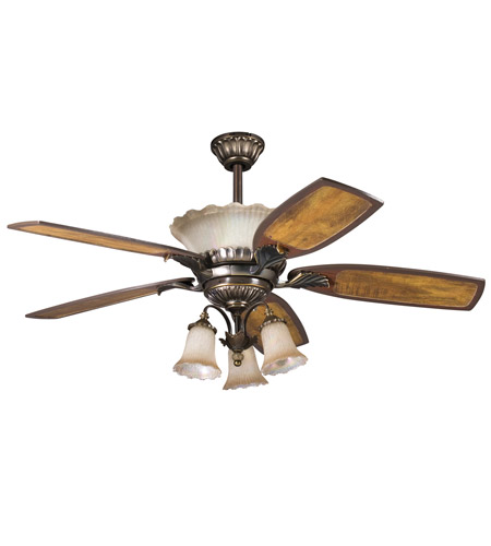 Kichler Lighting Golden Iridescence 3 Light Fan Light Kit in Oiled Bronze 380003OLZ photo