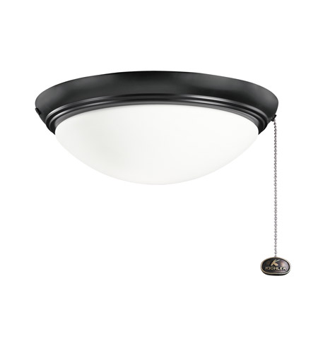 Kichler Basic Low Profile 2 Light Fan Light Kit in Satin Black 380020SBK