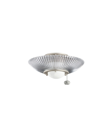 Kichler Lighting Single Lt Decor Ribbed Fixture Fan Light Kit in Brushed Nickel 380112NI