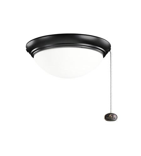 Kichler Basic Low Profile 2 Light Fan Light Kit in Satin Black 380120SBK