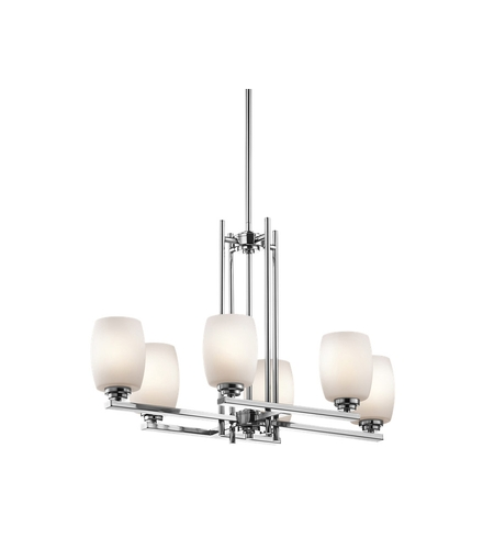 Kichler 3898CHL16 Eileen 6 Light 16 inch Chrome Chandelier Ceiling Light in LED, Satin Etched Cased Opal, Dimmable photo