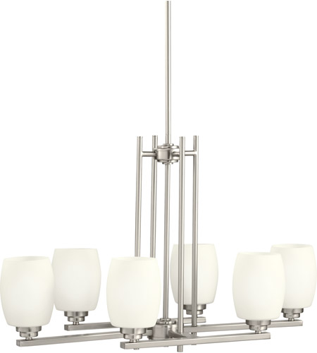 Kichler 3898NI Eileen 6 Light 30 inch Brushed Nickel Island Light Ceiling Light in Standard, Satin Etched Cased Opal photo
