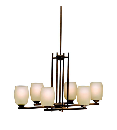 Kichler 3898OZ Eileen 6 Light 30 inch Olde Bronze Island Light Ceiling Light in Umber Etched Glass, Standard photo