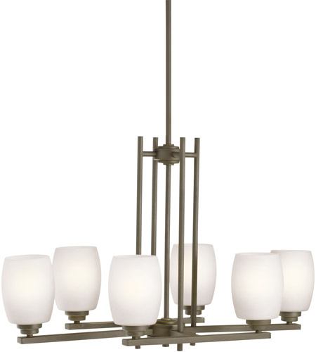 Kichler 3898OZS Eileen 6 Light 16 inch Olde Bronze Chandelier Ceiling Light in Satin Etched Cased Opal, Standard photo