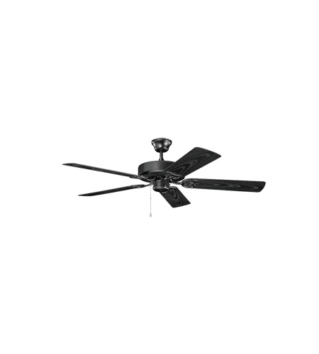 Kichler 401SBK Basics Revisited 52 inch Satin Black with Satin Natural Black Blades Fan photo
