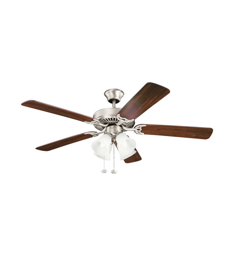 Kichler 402NI7 Basics Revisited 52 inch Brushed Nickel with Walnut MS-97503 Blades Fan in White Etched Single Rib photo