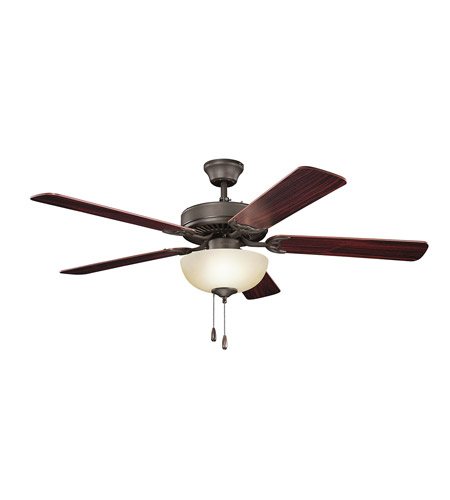 Kichler 403SNB Basics Revisited 52 inch Satin Natural Bronze with Teak MS-98556 Blades Fan in White Etched Glass photo