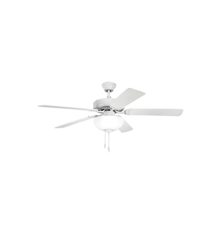 Kichler 403WH Basics Revisited 52 inch White Fan in White Etched Glass photo