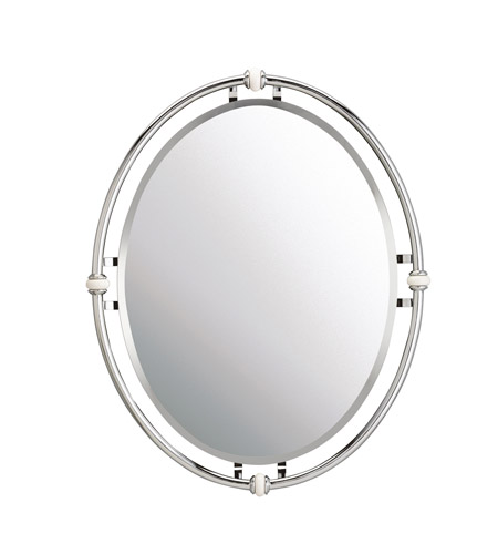 Kichler 41067ch pocelona 30 x 24 inch chrome wall mirror oval for Miroir 40x60