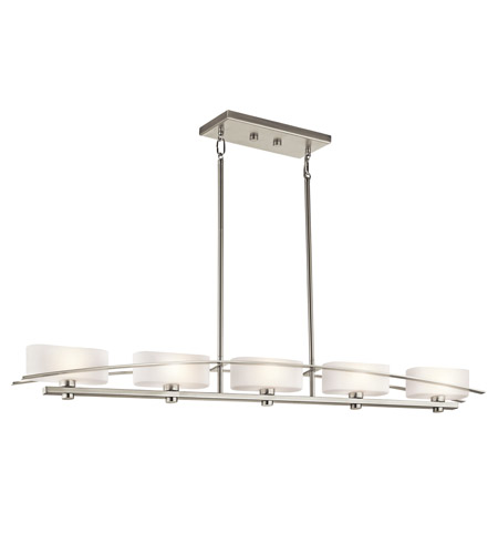 Kichler 42018NI Suspension 5 Light 51 inch Brushed Nickel Island Light Ceiling Light photo
