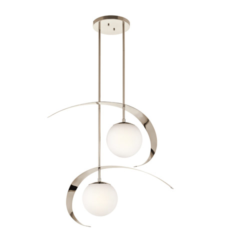 Kichler Lighting Escala 2 Light Chandelier in Polished Nickel 42037PN